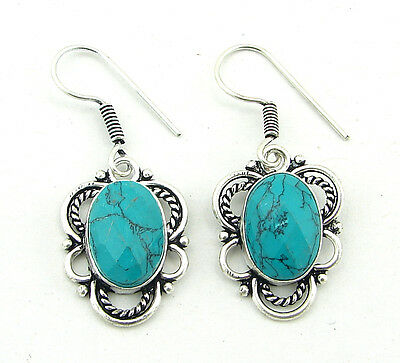 925 Silver Plated Turquoise Gemstone Antique Ethnic Indian Dangle Earrings 1248