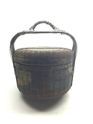 Antique Chinese Hand Painted Wedding Basket