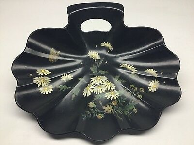 Antique Victorian Paper Mâché Shell Form Tray With Butterfly