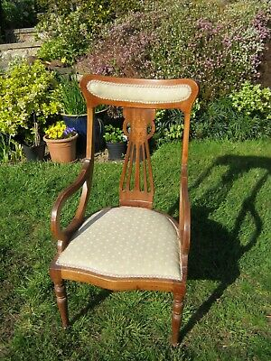 Edwardian Inlaid Mahogany Bedroom or Nursing Chair with Marquetry Back