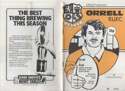 1987-Orrell V Bath-John Player Special Cup Semi Final-Rugby Union Programme