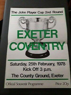 1978-Exeter V Coventry-John Player Special Cup 2Nd Round-Rugby Union Programme