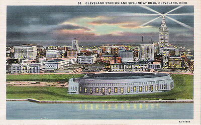 Postcard Ohio OH Cleveland Stadium & Skyline at Dusk Linen 1940's Nr. Mint