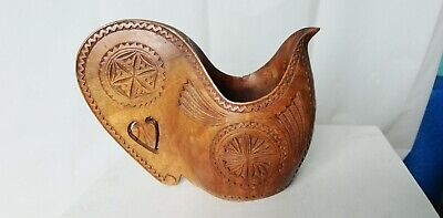 Yugoslavian Folk Art Wedding Ceremonial Shepherd Cup Love Token Treen Hand Carve