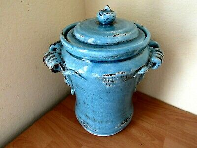POTTERY LARGE APOTHECARY JAR & LID for MEDICINAL HERBS CRACKLED RUSTIC IRONSTONE