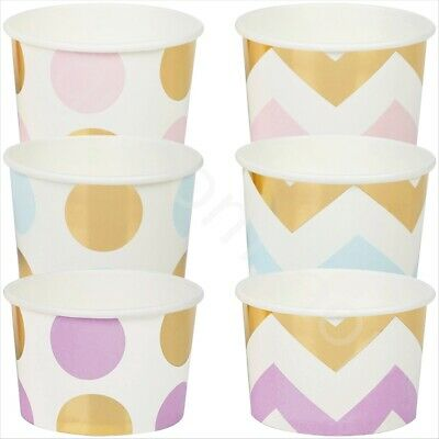 Disposable Paper Treat Tubs Ice Cream Dessert Cups Bowls Party Tableware - Pk 8