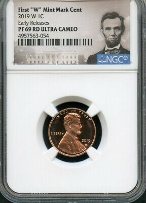 """2019 W First """"W"""" Mint Mark Cent EARLY RELEASES NGC PF69 RD U.C. Portrait"""