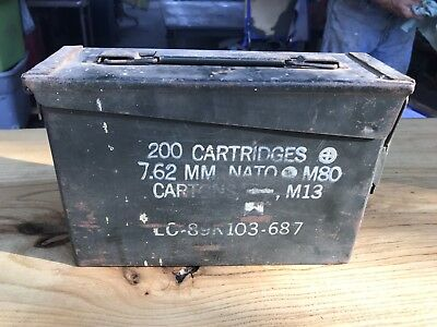 AMMO Can Box US Army Military 7.62MM Ammunition Metal Storage 200 Cartridge