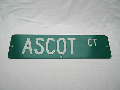 real retro old not vintage Industrial American street road name sign ASCOT CT