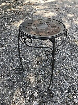 """Ornate Wrought Iron Metal Plant Stand Table Cast Iron Swivel Top 21"""""""