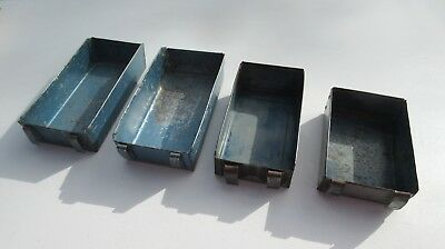 4 Vintage retro industrial workshop small blue grey open storage boxes trays