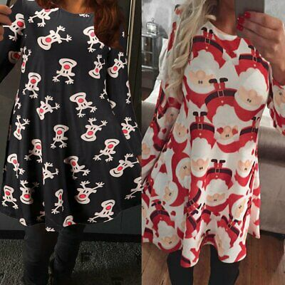 Sexy Ugly Christmas Santa Womens Casual Long Sleeve Swing Flared Jumper Dress GN