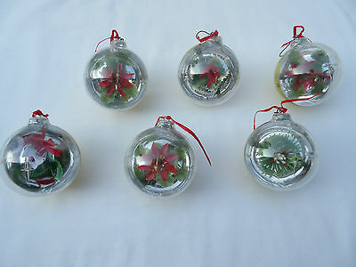 Retro kitsch plastic faux concave reflective floral scene Christmas tree baubles