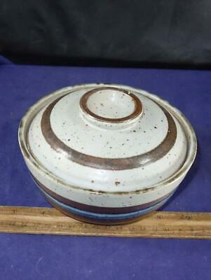 Old Japanese Otagiri Stoneware Horizon Pattern Cereal Rice Covered Bowl Japan