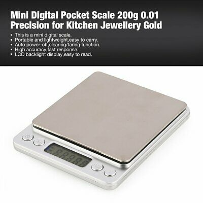 Mini Digital Pocket Scale 200g 0.01 Precision for Kitchen Jewellery Gold GS