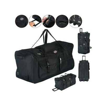 Rolling Wheeled Tote Duffle Bag Luggage Travel Duffle Suitcase Black