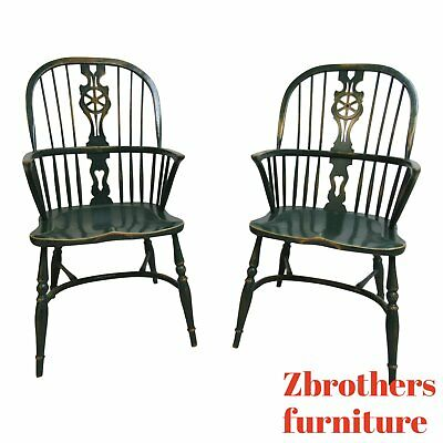 Pair Custom English Country Saddle Seat Windsor back Dining Room Arm Chairs A
