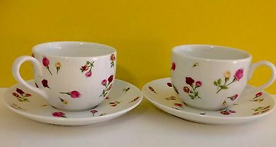 COUNTRY ROSE BUDS ROYAL ALBERT Porcelain 2 Cups 2 Matching Saucers NEW TEA FOR 2