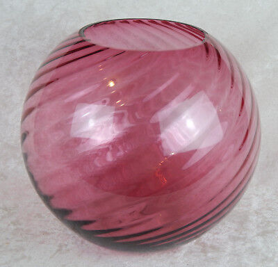 Huge Cranberry Glass Optic Swirl Ribbed Peony Blown Vase Vintage Pink
