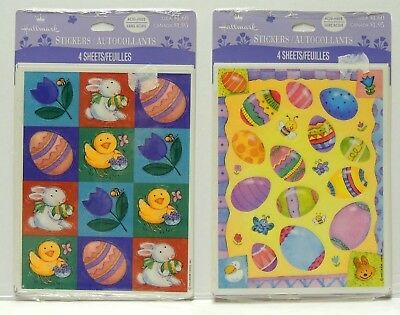 Hallmark EASTER Stickers - 1 Package of 4 Sheets - Eggs or Bunny Chicks
