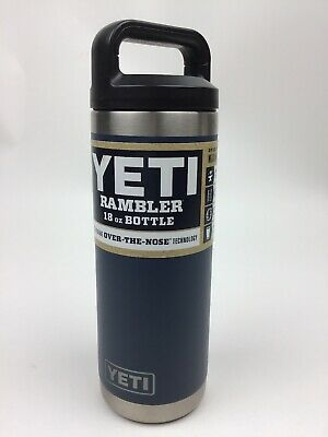YETI Rambler 18 oz Bottle Over the Nose Technology Kitchen Grade Stainless Navy