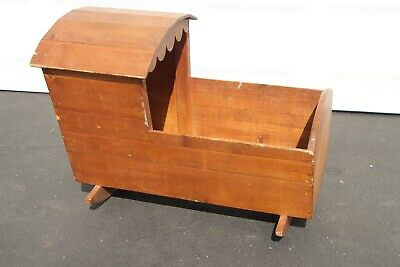 Antique Wood Rocking Cradle Bassinet Baby Crib W/ Hood Mothers Day Local Pick Up