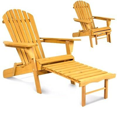 Outdoor Wood Chair Adirondack Foldable w/ Pull Out Ottoman WEATHER Resistant
