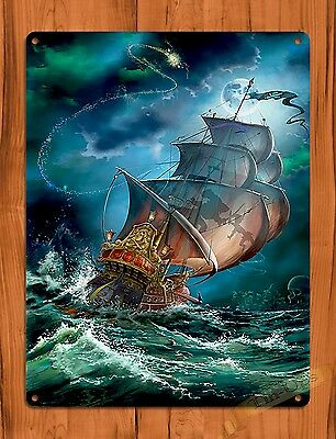 "TIN SIGN ""Peter Pan Captain Hook"" Vintage Art Movie Poster Ride"