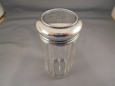 Vintage Antique Sterling Silver & Cut Glass Talcum Powder Bottle Shaker