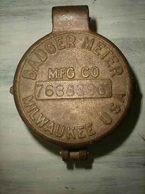 Badger Meter Mfg Co.Vintage Brass Meter Cover W/ Sight Glass Milwaukee USA NOS