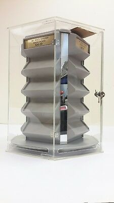 Countertop Revolving Locking Clear Acrylic Jewelry Gold Charm Display Case