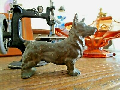 VINTAGE CAST BRONZE DOG STATUE - 1920's - CORGI .. VERY HEAVY FOR SIZE