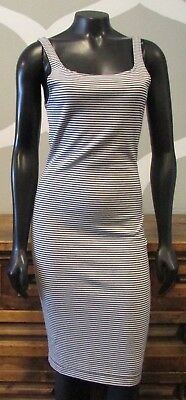 9aef788bdbd7 NWT ZARA TRAFALUC Medium White Navy Blue Striped Stretch Knit Bodycon Dress  NEW