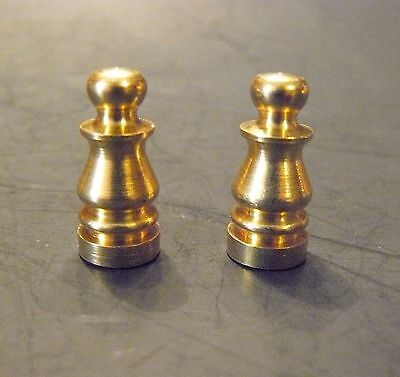 "(2) Solid Brass Lamp Finial 1/4-27,1"" tall X 7/16"" Diameter Lighting Parts (FB1)"