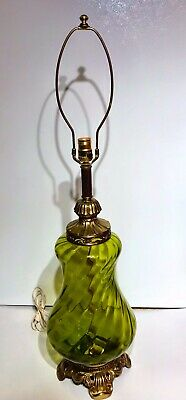Vintage Table Lamp Green Glass Brass Base Mid Century Hollywood Regency