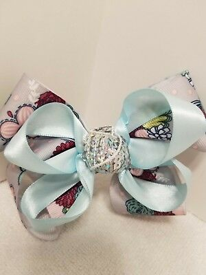Girls/Barrette/Bow - double stack bow,light blue bow, grey w/floral bow MDBITs