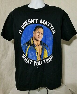 The Rock It Doesnt Matter What You Think WWE Mens Black T-Shirt Large New