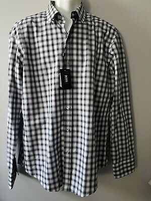 a33ee50d sz XL Men's New BOSS Boss Hugo Long Sleeve Sharp Fit Robbie Shirt black/  white