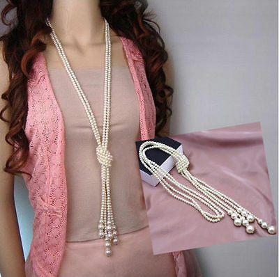 Fashion White Artificial Pearls Long Chain Charms Sweater Necklace New 2018