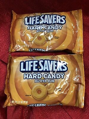 2 Bags Butter Rum Lifesavers Hard Candy Snack Travel Individually Wrapped 6.4 Oz