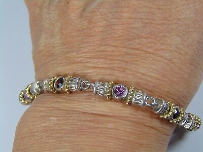 Sterling Silver  Bracelet With Different Color Stones 7 3/4 Length