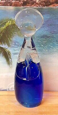 Cobalt Blue and Clear Hand Blown Glass Angel Paperweight Figure