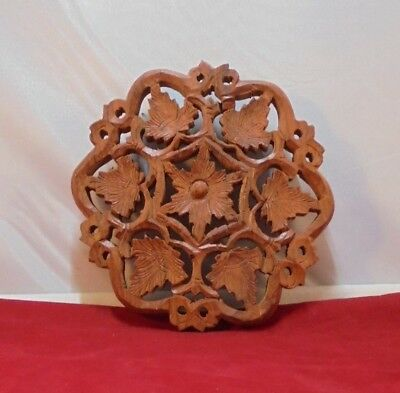 Hand Carved Wooden Footed Trivet Made in India