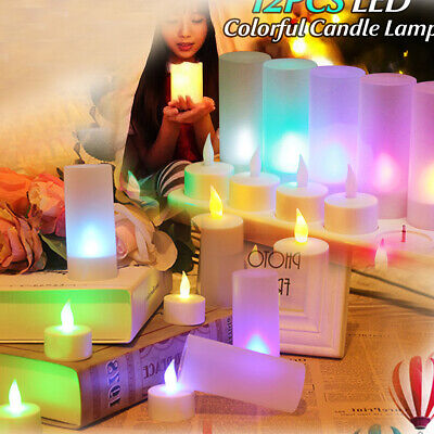 12x Rechargeable Flameless LED Tea Light Candles Bulk 9 Hour Night Party Dinner
