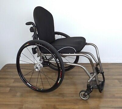 TiLite TR titanium wheelchair, Frog Legs forks, Jay J3 back, Rear suspension