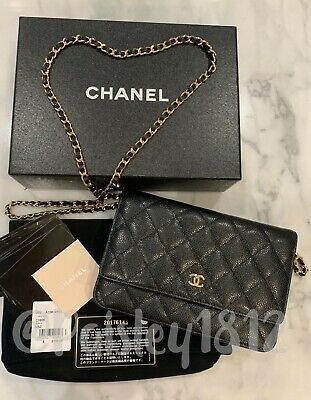 a147e2500eb1 100% Auth CHANEL Black Caviar Quilted Gold CC Wallet On Chain WOC O-MINI
