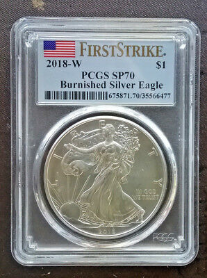 2018-W Burnished Silver American Eagle SP-70 PCGS First Strike