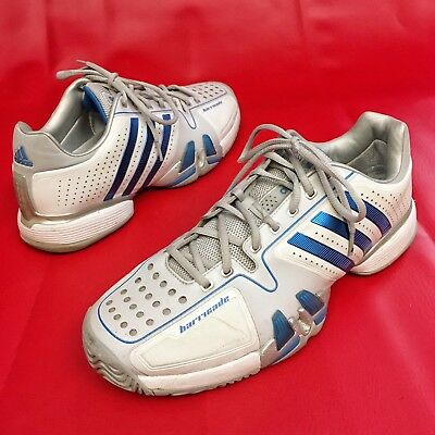 online store 21a91 d7a65 Adidas Barricade Men s Athletic Tennis Shoes Sz 12.5 EU48 White Blue EUC