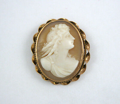 Antique Vintage 14k Rose Gold Carved Shell Cameo Pin Brooch
