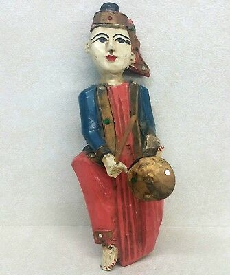 Southeast Asian Carved Wood Female Musician Figure